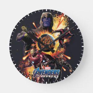 Avengers: Endgame | Thanos & Avengers Fire Graphic Round Clock