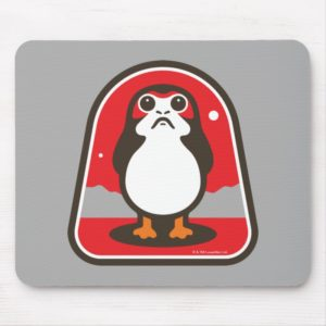 Cartoon Porg Badge Mouse Pad