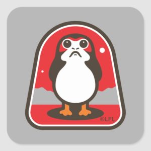 Cartoon Porg Badge Square Sticker