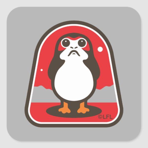 Cartoon Porg Badge Square Sticker