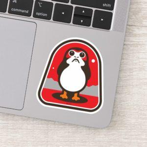 Cartoon Porg Badge Sticker