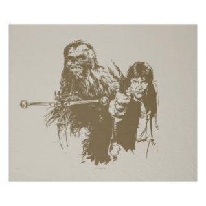 Chewie and Han Silhouette Fleece Blanket