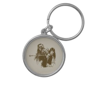 Chewie and Han Silhouette Keychain