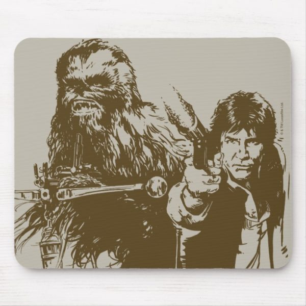 Chewie and Han Silhouette Mouse Pad