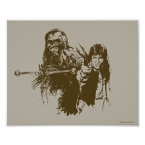 Chewie and Han Silhouette Poster