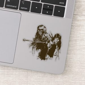 Chewie and Han Silhouette Sticker
