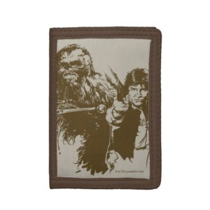 Chewie and Han Silhouette Trifold Wallet