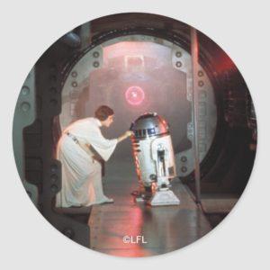 Leia and R2-D2 Secret Message Scene Classic Round Sticker
