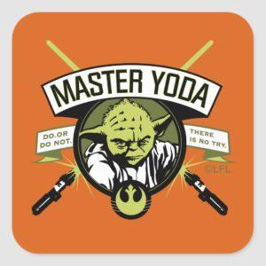 Master Yoda Lightsaber Badge Square Sticker