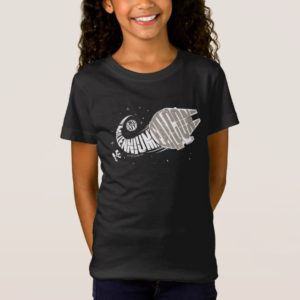 Millennium Falcon Typography Illustration T-Shirt