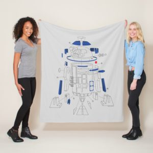 R2-D2 Exploded View Drawing Fleece Blanket