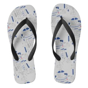 R2-D2 Exploded View Drawing Flip Flops