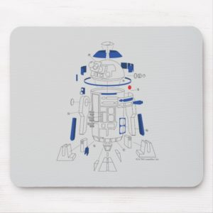 R2-D2 Exploded View Drawing Mouse Pad
