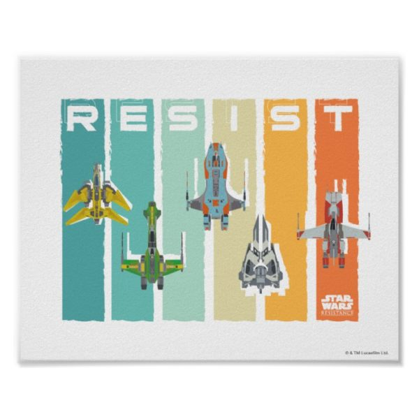 """Star Wars Resistance   Ace Squadron """"Resist"""" Poster"""