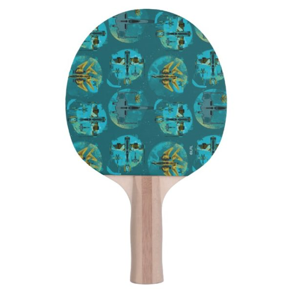 Star Wars Resistance   Teal Ace Fighters Pattern Ping Pong Paddle