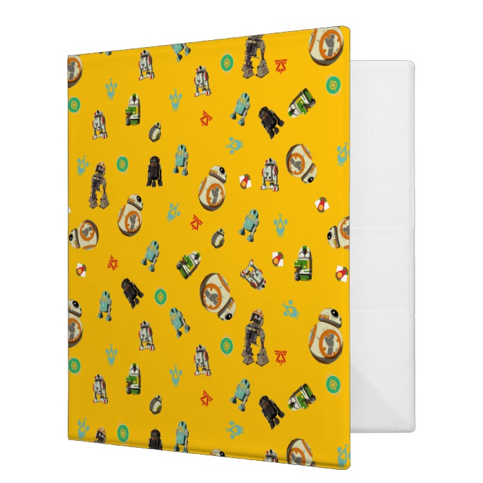 Yellow Droids Pattern 3 Ring Binder